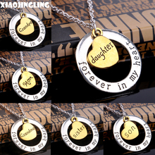 XIAOJINGLING Round Circle Forever In My Heart Pendant Necklace Gold Heart Engraved Mom Grandpa Son Sister Mom Christmas Gifts(China)