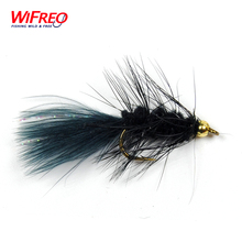 10PCS Wifreo 8# Streamer Woolly Bugger Fly Black Color with Crystal Flash Tail Golden Head Free Box