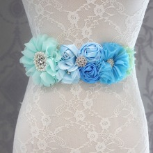 Fashion Blue flower Belt,Girl Woman Sash Belt Wedding Sashes belt with flower headband 1 SET(China)