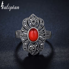 Iutopian Brand New Arrival Palace National Retro Ring with 3 Colors Stone Hollow Lace for Women #G3325red