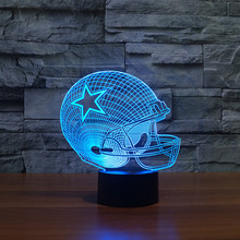 2017 NFL Team Logo Collection Dallas Cowboys Football Helmet 3D Light 7 Color Night Light Child Christmas Gifts Drop Shipping