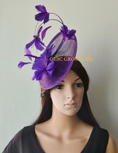 New design.Purple Feather fascinator Hat Formal dress hat  for Races,Wedding,Kentucky derby.