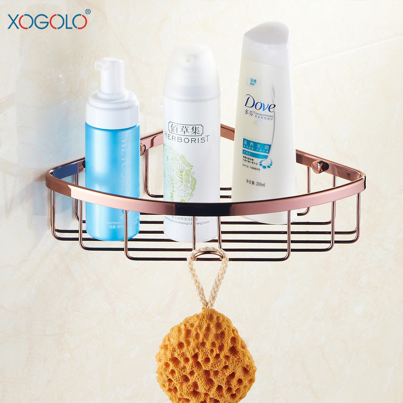 Xogolo Bathroom Corner Baseket, Solid Copper Rose Gold, Triangle Basket Single Tier Bathroom, Shower Candy 8023 <br><br>Aliexpress