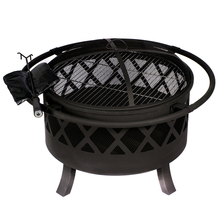 HIO 32-Inch Outdoor Fire Pit with Spark Screen Steel Grill Protective Cover and Safety Poker(China)