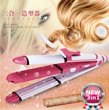 Brand Hair straighteners \Curlers\ Corn hot 3 in 1  Multi-function Hair Curler Hair Rollers Straightener Curling Wand For Family