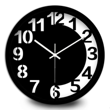 Creative Black and white chocolate metal wall clock living room students simlpe Arabic numerals Large  Mute Watches and clocks