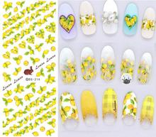 DS214 DIY Nail Design Water Transfer Nails Art Sticker Yellow Lemon Rabbit Nail Wraps Sticker Watermark Fingernails Decals