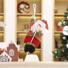 2017 Xmas Tree Decor 56cm 46cm 36cm New Christmas decorations Santa climbing rope doll red with green and gold with green models(China)