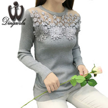 Autumn Winter Casual Sweater 2017 fashion Sexy lace Rhinestone knittd Sweater long-sleeved Pullovers Knitted shirt female(China)