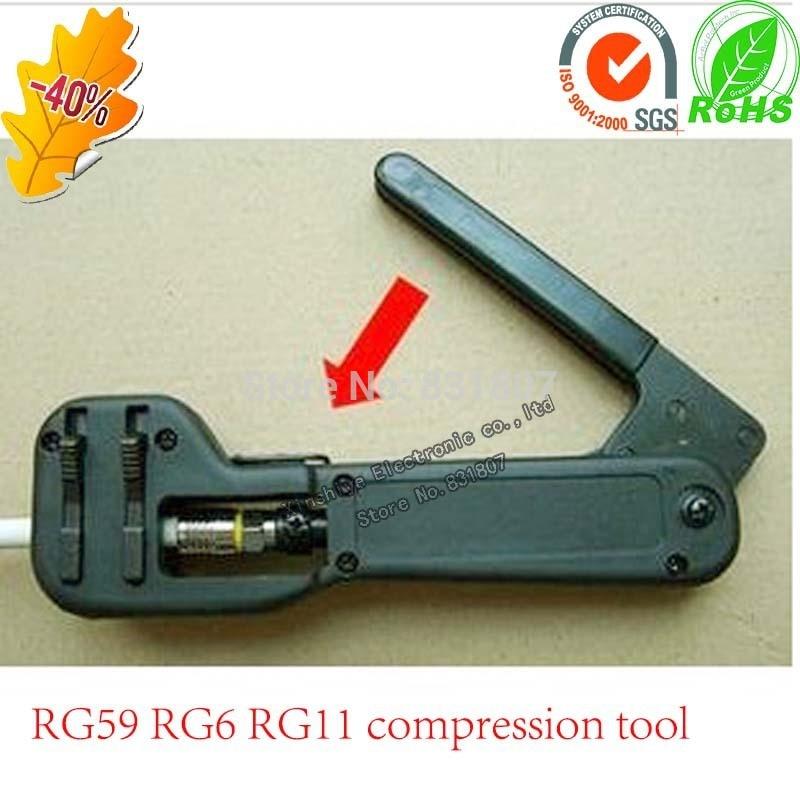 Compression Tool Coaxial Connector Coax Cable Crimper Stripper For RG59//RG6//RG11