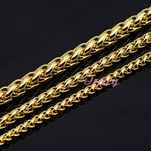 Fashion 4mm 5mm 6mm Mens Womens Boys Yellow Simple Solid Gold Color Necklace Braid Wheat Style Chain Free Shipping