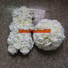 Hot 10pcs/lot Artificial rose hydrangea and peony wedding flower wall road lead flower ball Wedding  arches with flower TONGFENG