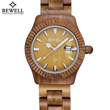 Bewell Auto Date Maple Bamboo Sanders Wood Watches Men Women Fashion Retro Wooden Quartz Couples Lovers' Watch Time Hour relojes(China)