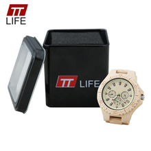 TTLIFE Male Wood Analog Quartz Wrist Watches Men Clock Multifunction 3 Eye Mens Wood Watches Luminous Chronograph Business Watch
