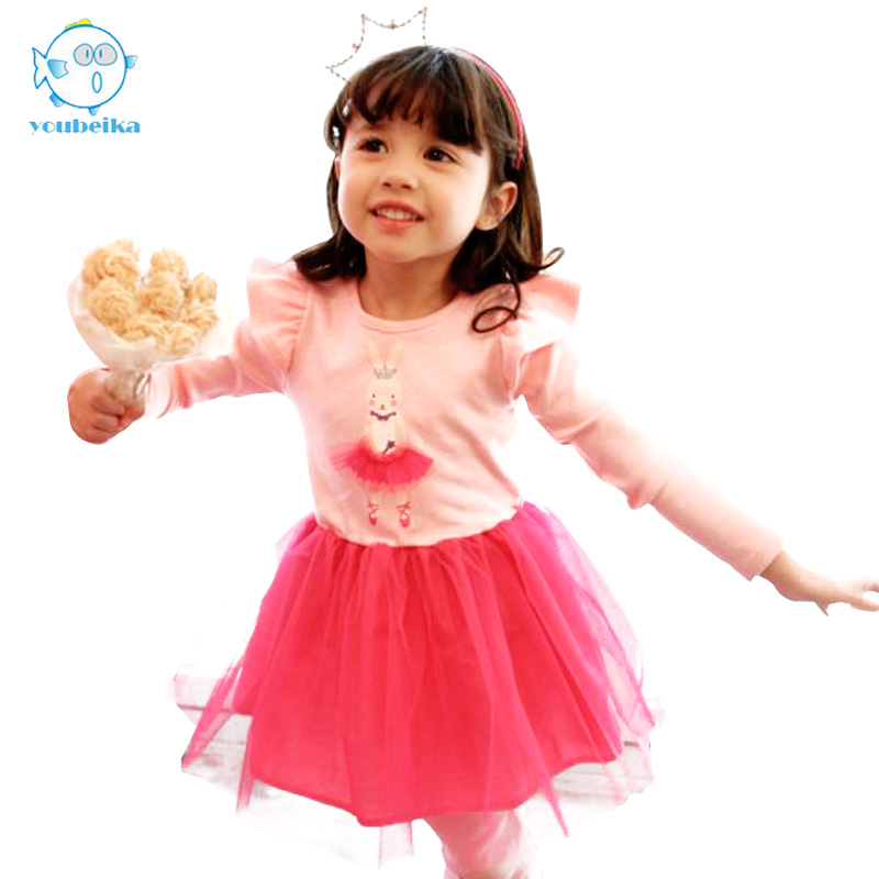 Baby Girls Dresses 2017 Spring Cotton Clothes With Long Sleeves Kids Cute Rabbit Dress Flying Sleeve Autumn Mesh Dress Clothing<br><br>Aliexpress