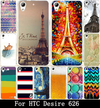 AKABEILA Beer Eiffel Tower Totem Painted Hard Plastic Cover Case For HTC Desire 626 650 628 626w 626D 626G 626S Bags Shell Hood