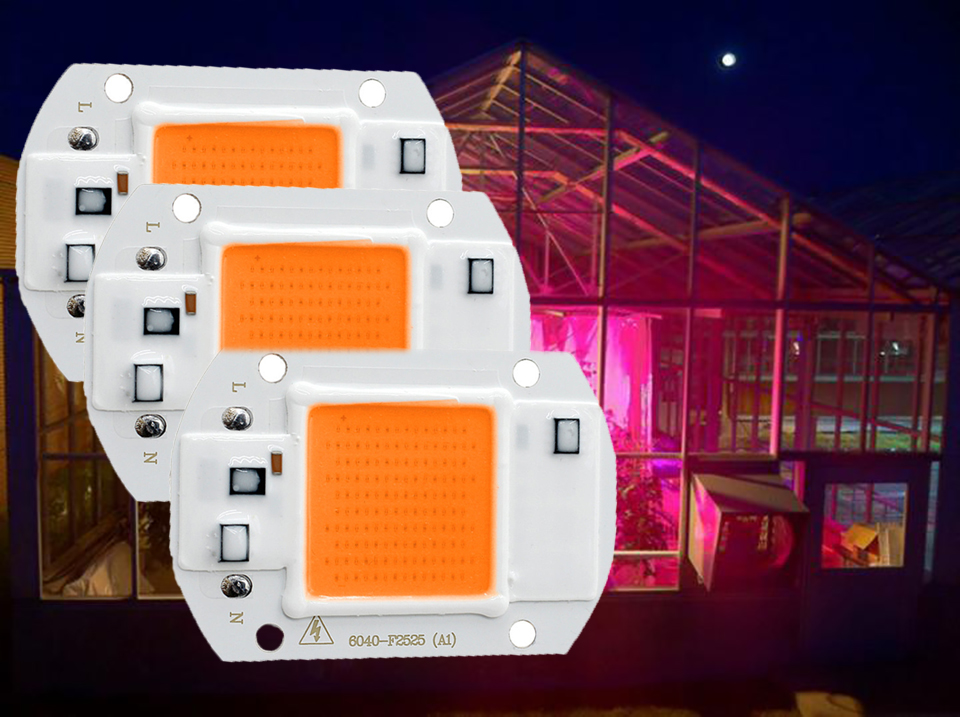 LED Grow Light Lamp Smart Chip Full Spectrum Input 220V 110V AC Directly 20W 30W 50W For Indoor Plant Seedling Grow and Flower