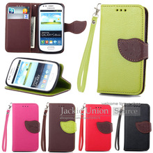 Fashion Cover for Samsung Galaxy S3 Mini i8190 Cover Flip Leather Case, Leaf Wallet Stand Filp Leather Case For Galaxy S3 mini