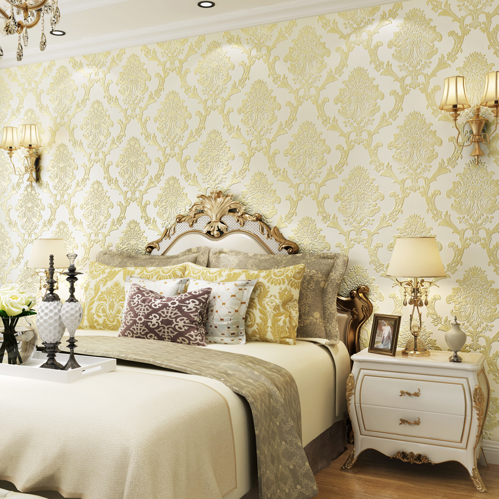 Non-woven European-style palace aristocratic pressure wallpapers 3D stereo Damascus living room bedroom TV wall luxury<br>