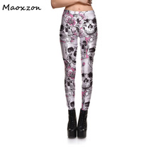 Buy Maoxzon Womens Skull Print Plus Size Workout Bodycon Slim Leggings Pants Female Casual Fitness Elastic Skinny Trousers 4XL for $13.99 in AliExpress store
