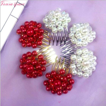 Loura Shace Elegant Tiaras Pearls Crystal Beads Hair Combs Handmade Beaded Wedding Bride Party Hair Comb Bridal Hair Accessories