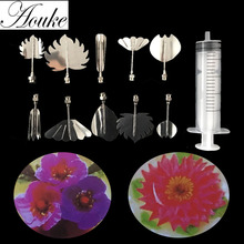 10PC 3D Puding Nozzle Flower Jello Jelly Art Pudding Flower Cake Decorating Mold with Needle Tools P022(China)
