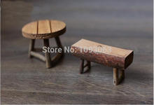 Natural Wood Table Small Mini Stool Round Rectangle Props Fleshy Moss Mini Bonsai Garden Decoration