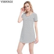 New Arrive Female Sundress Black White Striped O Neck Mini Dress Woman Summer Brief Dress Plus Size Women Clothes Robe Sexy S200(China)
