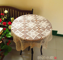 Christmas Hand Crochet Flower woven Table cloth Lace hollow Beige Square 80 cm Cotton Tablecloth Sofa towel Cover cloth