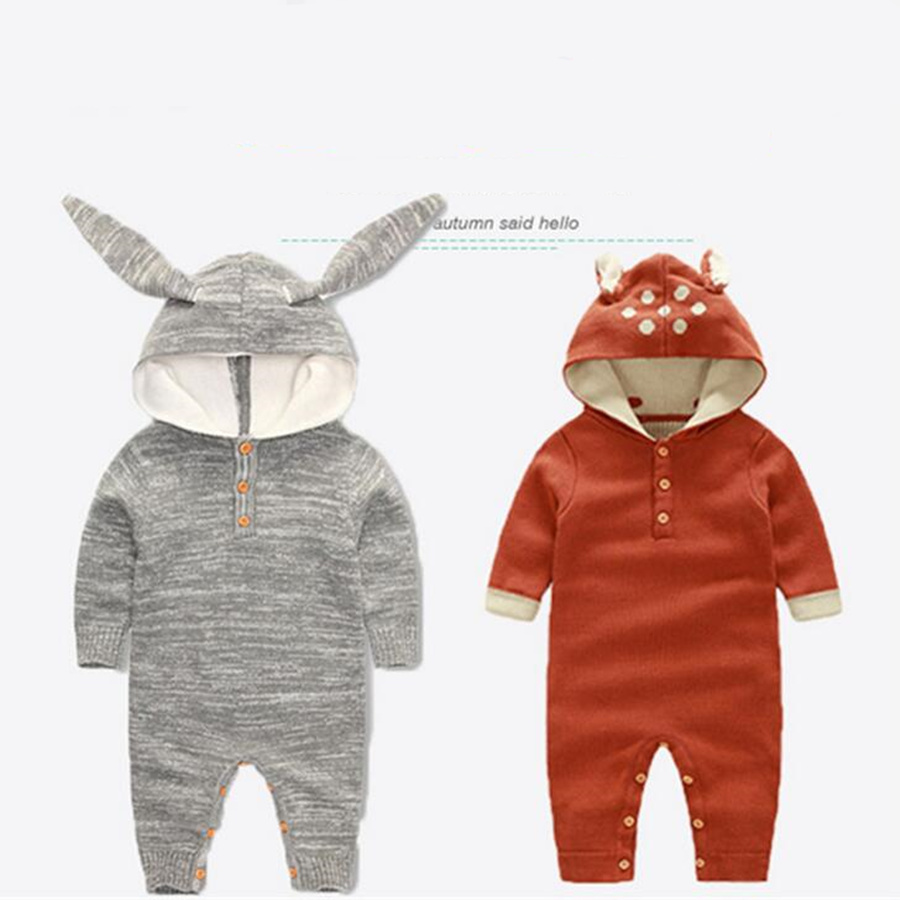 2017 Baby Rompers Character Deer Rabbit Christmas Baby Newborn Clothes Fashion Knitted Long Sleeve Baby Costume<br><br>Aliexpress