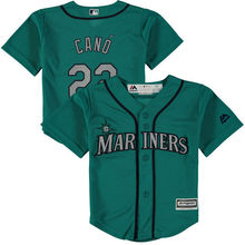 MLB Toddler Seattle Mariners Robinson Cano Baseball Alternate Aqua Official Cool Base Player Jersey(China)