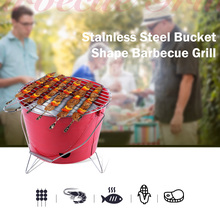 Hot Sale Bucket Shape Barbecue Grill Light Weight Portable Stainless Steel Camping BBQ Grill Outdoor Characoal Burn Oven