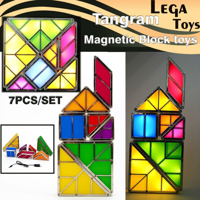 NEW 7PCS Geometry Tangram Magnetic Blocks Jigsaw Baby Kid Creative DIY  Tangram Brain Tetris Electronic Kit Illuminated Block<br>