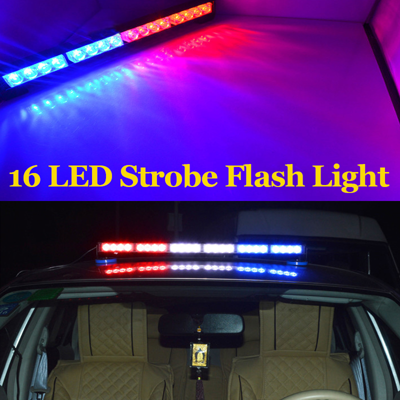 16 LED auto LED lamp strip stick high quality traffic lights bar lamp blub warning light strobe police flash light high power<br><br>Aliexpress
