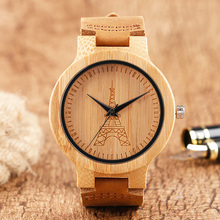 France Eiffel Tower Dial Wooden Watches for Women Lady Wrist Quartz Watch Nature Wood Creative Leather Band Strap Female Clock(China)