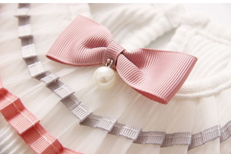 2018 Spring Autumn 100% Cotton White Grey Pink Solid Color Long Sleeve Pleated Turn-Down Collar Neck T Shirt For Girls 10 Years (23)