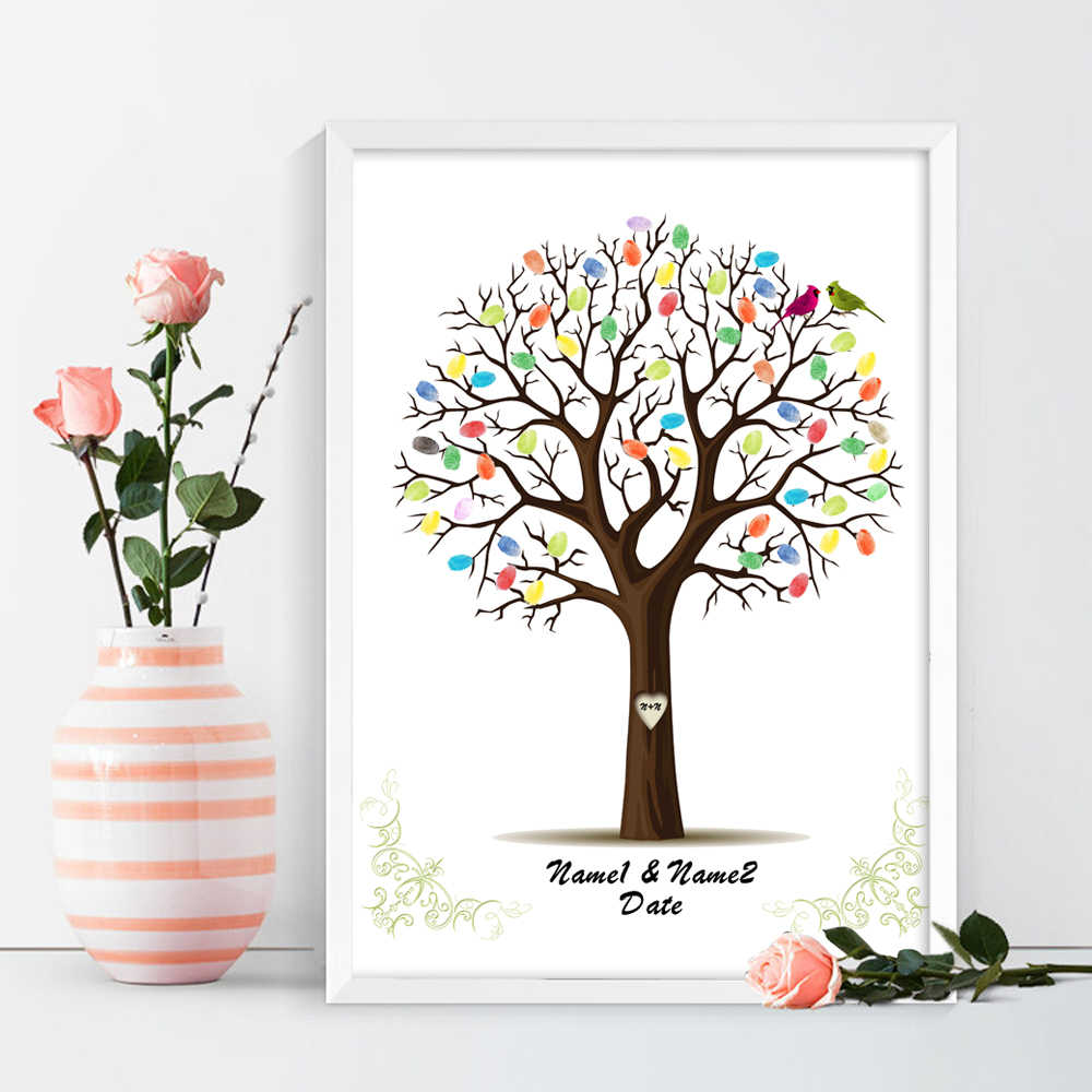 Birds on the Wedding Tree,Free Personalized Custom Fingerprint DIY Guest Book for Engagement Party and Wedding Ceremony,No Frame
