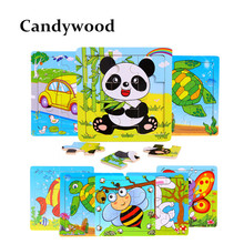 Candywood 3X3 Cute Animal Puzzles Wooden Toys Kids Cartoon Jigsaw Puzzle Educational Toy Toys for Children baby(China)
