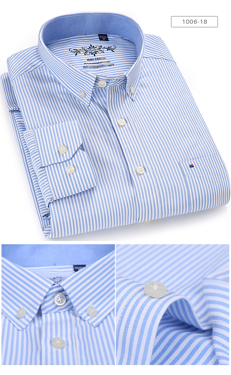Men's Long Sleeve Contrast Plaid/Striped Oxford Dress Shirt with Left Chest Pocket Male Casual Slim-fit Buttoned Down Shirts 4