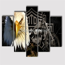 Unframed 5 Piece Canvas Wall Art Eagle And Motorcycle Print Sport Poster Limited Paintings For Living Room Home Ornamentation