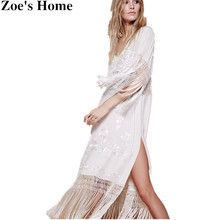 Zoe's Home Long Maxi Dress Newest Tassel Dress Sexy V-neck Waist Hollow Vintage White Embroidered Floral Boho Clothing Dress