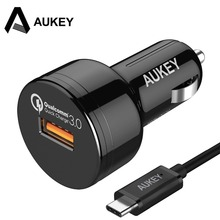AUKEY USB Fast Car Charger Quick Charge 3.0 Car-Charger Adapter Mobile Phone Auto Charger + 1m Type C Cable For Xiaomi Mi 5(China)