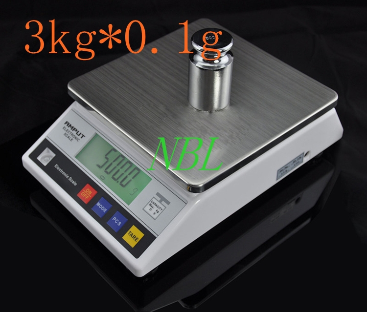 3000g 0.1g Electronic Table Bench Scale 3Kg LCD Precision Digital Kitchen Food Scales Household Steelyard Adapter Weight Balance