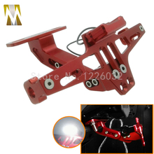 Motorcycle CNC License Plate Frame With Led Light Holder Motor Plate Holder for Yamaha Kawasaki Universal Red Black Blue Gold(China)