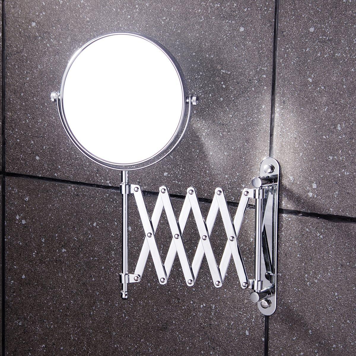 8 inch Bathroom makeup mirror brass bathroom double faced makeup mirror magnifier X3 beauty mirror retractable wall mirror<br><br>Aliexpress