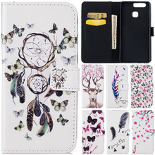 Luxury Cute Cartoon 3D Rilievo Butterfly Net Flower Deer Leather Flip Coque Fundas Case For Huawei Ascend P9/ P9 Lite Back Cover