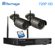 Techage 4CH 720P 1080P WIFI CCTV System Wireless NVR Kit 2MP P2P Outdoor 2pcs Security IP Camera Surveillance Set Motion Detect