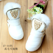 new fashion 2016 winter child boots Boy,Girl PU snow boots natural rabbit fur shoes children sneakers  kids shoes LMD01