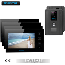 "HOMSECUR Luxury 7"" Wired Video Door Phone Intercom System With 4 LCD Monitors+ 2 Cameras(China)"