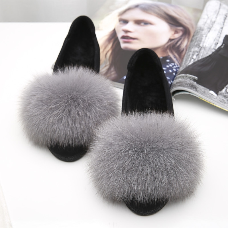 2017 han edition of the fox and fine hair lighter single female fur one flat flat shoes with leather maomao shoes round head<br>